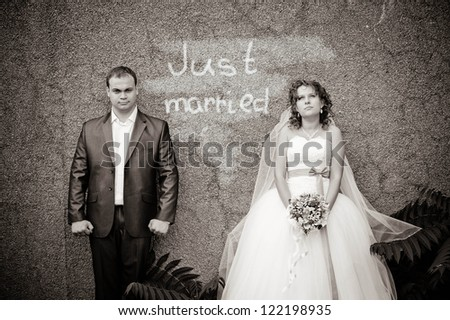 Funny Groom and Bride - stock photo