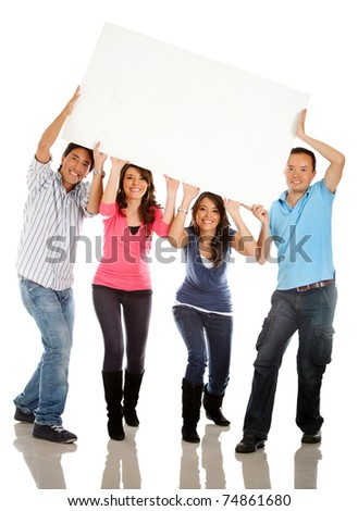 Funny group carrying a banner - isolated over a white background - stock photo