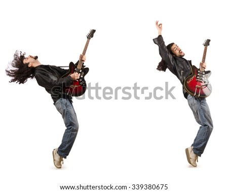 Funny guitar player isolated on white - stock photo