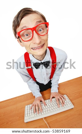 Funny guy at the computer - stock photo