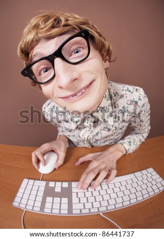 Funny guy at the computer, similar available in my portfolio - stock photo