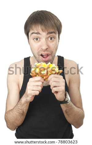 funny guy in a vest with a pie, caucasian white man, isolated over white - stock photo