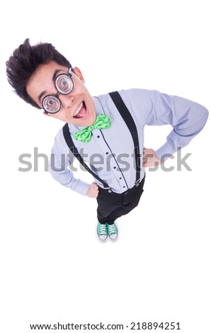 Funny guy isolated on the white background - stock photo