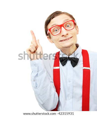 Funny guy pointing up - stock photo