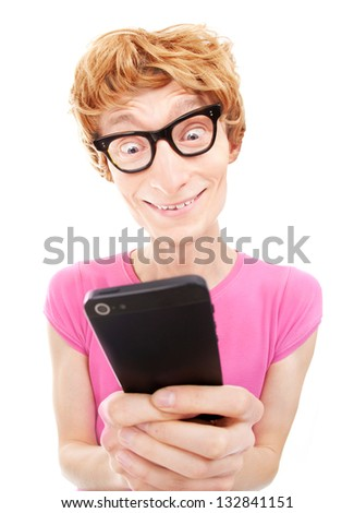 Funny guy using smart phone - stock photo