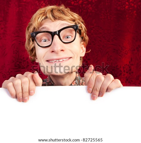 Funny guy with blank card - stock photo