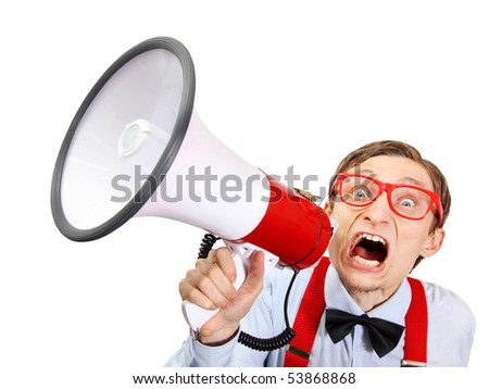 Funny guy with bullhorn - stock photo