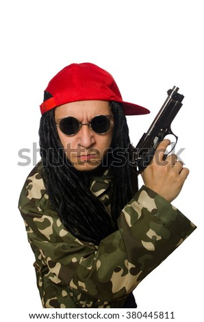 Funny guy with gun isolated on white - stock photo
