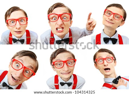 Funny guy with many different facial expressions - stock photo