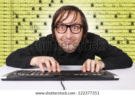 Funny hacker is preparing to hack system - stock photo