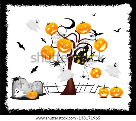 Funny Halloween background with ghosts