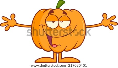 Funny Halloween Pumpkin Cartoon Character With Open Arms For Hugging . Raster Illustration - stock photo