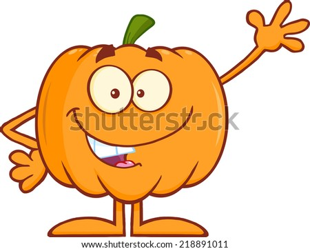 Funny Halloween Pumpkin Mascot Character Waving. Raster Illustration - stock photo