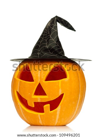 Funny Halloween pumpkin with black hat isolated on white background - stock photo