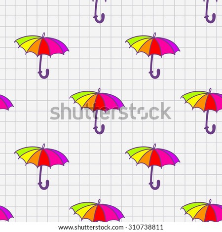 Funny hand drawn umbrella sketch in a notebook seamless pattern. Raster copy.
