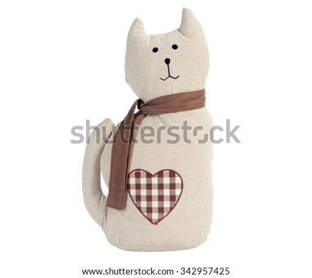 Funny handmade toy cat isolated on white, Pattern Fabric - stock photo