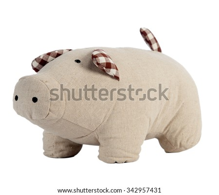 Funny handmade toy pig isolated on white, Pattern Fabric