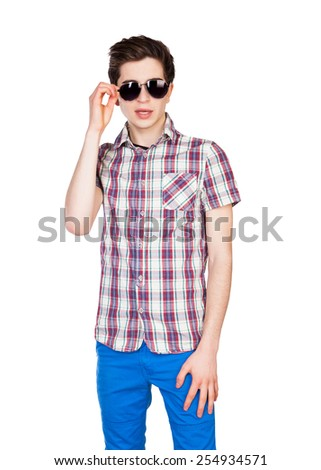 funny handsome man with hipster glasses smiling. Isolated on white background - stock photo