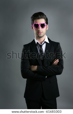 funny heart shape pink sunglasses modern fashion businessman - stock photo