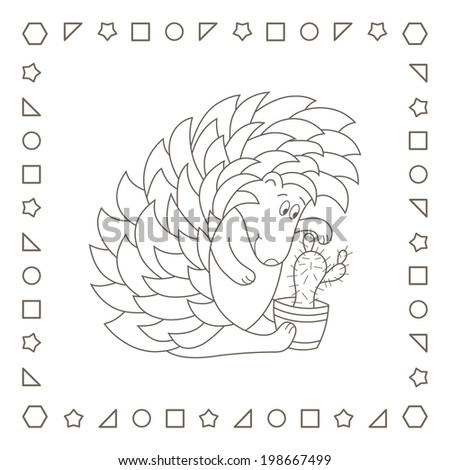 Funny hedgehog and cactus. Coloring page. Coloring book. - stock photo