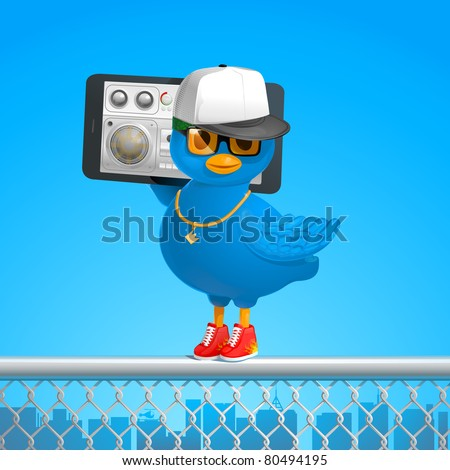 funny hip-hop style blue bird tweets in the ghetto with a phone gadget JPEG - stock photo