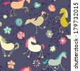 Funny horses seamless pattern - raster version - stock photo