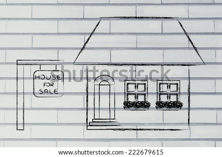 funny house for sale, concept of buying or moving house - stock photo