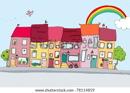 funny houses in happy city landscapes. digital - stock photo