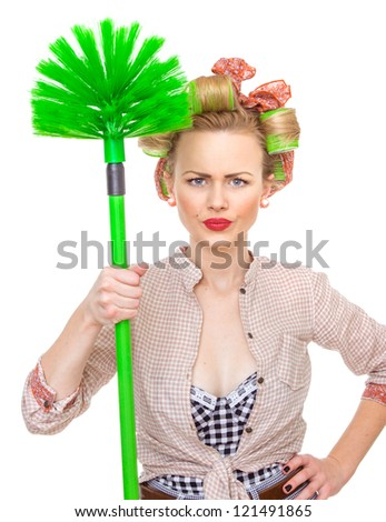 Funny housewife / girl with broom, isolated on white. Close up domestic woman