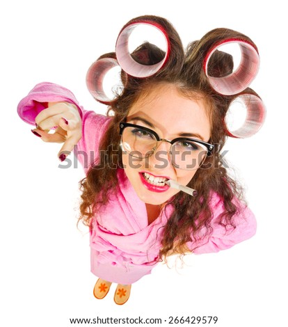 Funny housewife with curlers isolated - stock photo