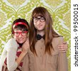 Funny humor silly nerd couple on retro vintage wallpaper background - stock photo