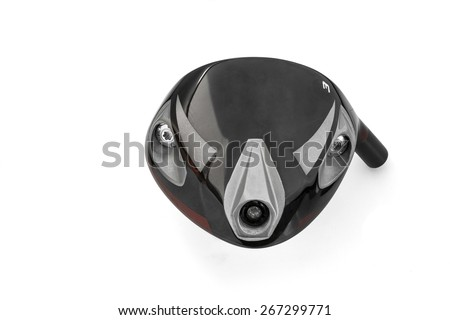 Funny idea - angry face of Three wood driver golf head isolated on white