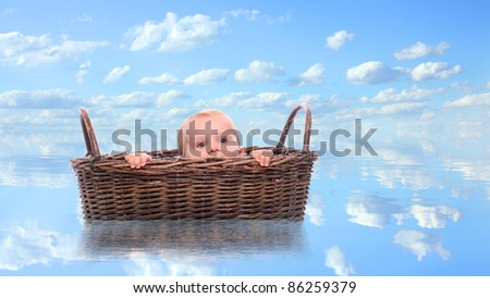 Funny image of a little sailor in basket. Family relations metaphor.