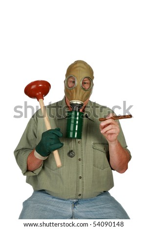 funny image of a plumber in a gas mask with a toilet plunger and smoking a cigar isolated on white - stock photo