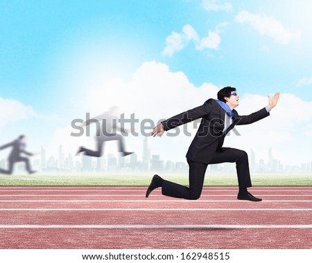Funny image of running businessman at stadium. Competition concept