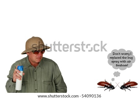 Funny image of two cockroaches talking while a man sprays them with bug spray isolated on white - stock photo