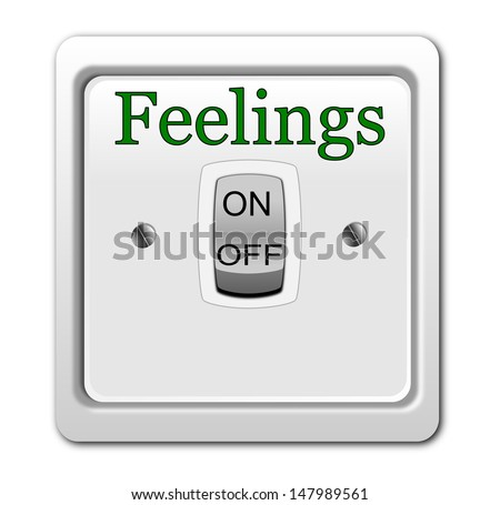 Funny, inspirational illustration with switch feelings on/off button isolated on white background.  - stock photo