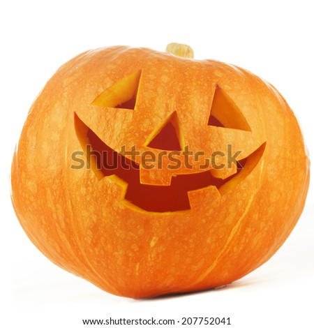 Funny Jack O Lantern halloween pumpkin isolated on white background - stock photo
