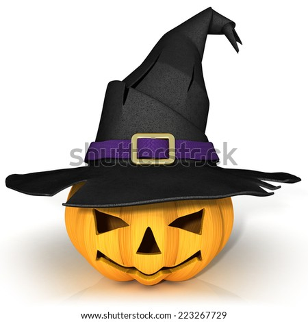 Funny Jack O Lantern. Halloween pumpkin, wearing a witch's hat. Isolated on white background. - stock photo