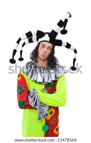 funny joker with colorful costume on white - stock photo