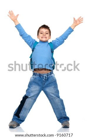 Funny jumping boy. Isolated over white background - stock photo