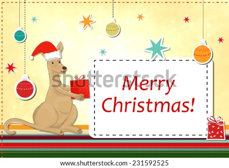 funny kangaroo celebrating christmas - stock photo