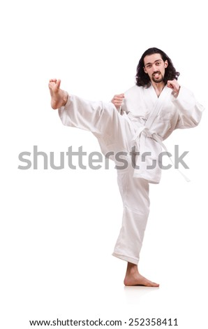 Funny karate fighter isolated on the white - stock photo