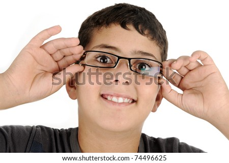 funny kid boy with glasses - stock photo