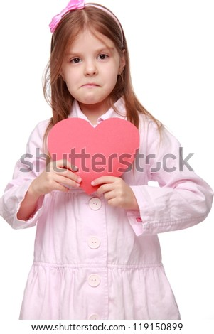 Funny kid with red heart symbol on Sign and Symbol theme
