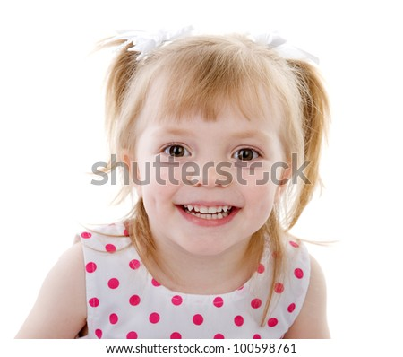 Funny kid with the big eyes close up. isolated on white background