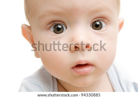 Funny kid with the big eyes close up. isolated on white background - stock photo