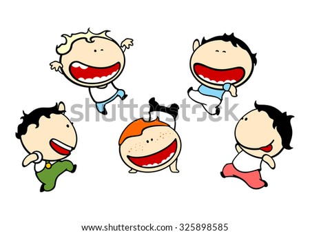 Funny kids #79 - cute small mischievous boys (raster version) - stock photo