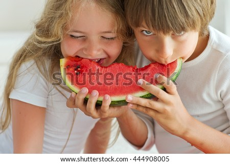 Funny kids eating watermelon. Child, Healthy Eating