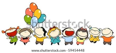 Funny kids #5 - friendship (raster version) - stock photo